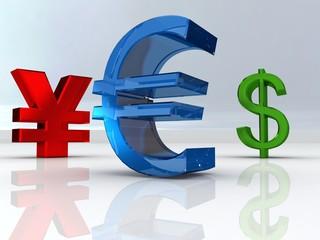 Euro, Yen, Dollar