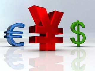 Yen, Euro, Dolar