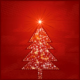 shining christmas tree, vector illustration poster