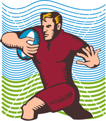 Rugby player running for a try woodcut style