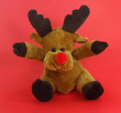 Plush Reindeer on Red Background