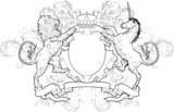Monochrome Lion and Unicorn Coat of Arms poster