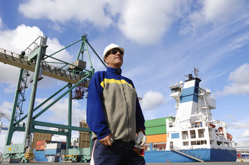 engineer and container port