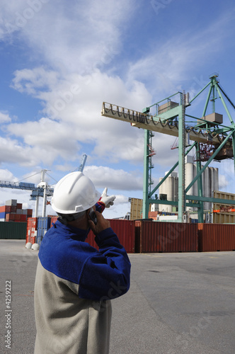 engineer directing crane in commercial dock