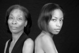 Mother and Daughter in Black and White