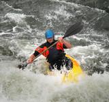 Man Kayaking on Whitewater rapids poster