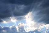 Rays of Sunshine through Clouds poster