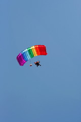 Parachuter with colored parachute