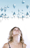 Blond woman looking up to raindrops poster