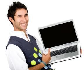 happy guy showing laptop