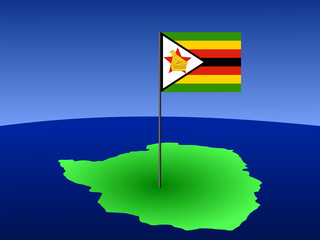 map of Zimbabwe with flag