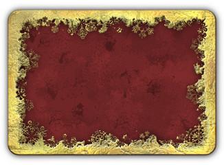 Christmas Golden Frame Snowflakes Grunge