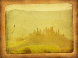 vintage postcard with classical tuscan view poster