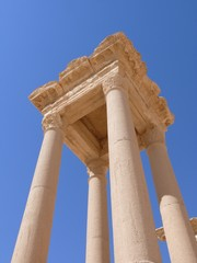 Ancient columns close up, archaeological ruins, Palmyra, Syria