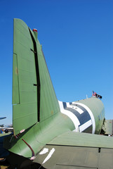 Tail view of classic military DC-3 airplane