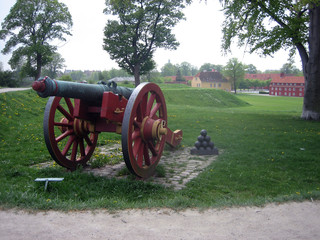 View of Cannon and Kastellet in Background in Copenhagen Denmark