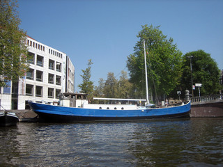 View of House Boat Docked in Coveted Part of Amsterdam