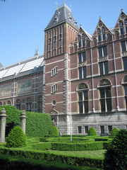 A view of the Facade of the Rijksmuseum in Amsterdam