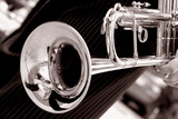 black and white trumpet close up poster