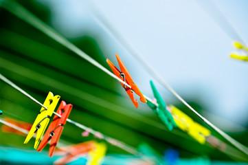 Clothespins closeup