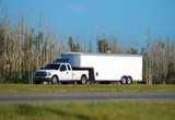 Heavy duty pickup truck and trailer poster