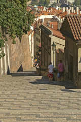 Stairs leading up to the Prague Castle