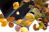 Autumn laptop. Nostalgia. poster