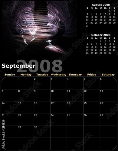 2008 Year Monthly calendar with graphic design illustration