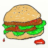 childs burger drawing poster