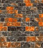 Glossy orange and gray brick walkway poster