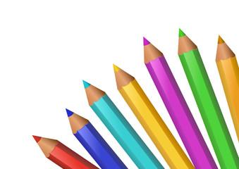 Eventail de crayons de couleurs