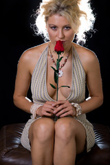 Sexy woman with a rose