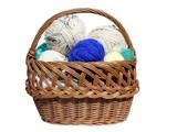 A color balls of yarn inside basket  poster