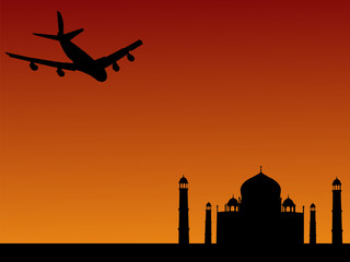 plane arriving at Taj Mahal India
