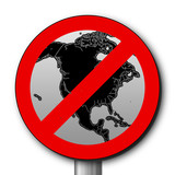No entry sign with US map poster
