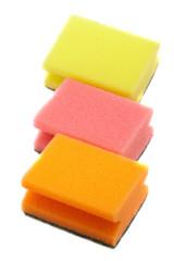 three kitchen sponge different colors