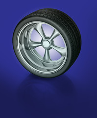 Sport alloy wheel tyre 3d concept illustration