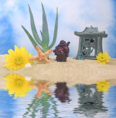 Plant with Sea Shells and Buddha