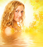 Young girl with curl hair in rendered water poster