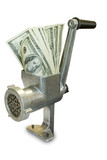 Money concept. Dollars are milled in a meat grinder poster