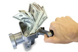 Money concept. Hand and dollars are milled in a meat grinder poster