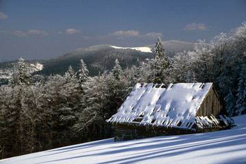 Shelter in the Gorce mountains