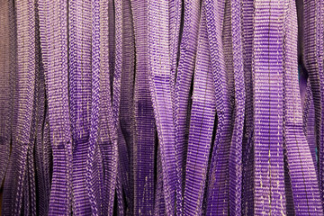 detail of vibrant purple safety belts