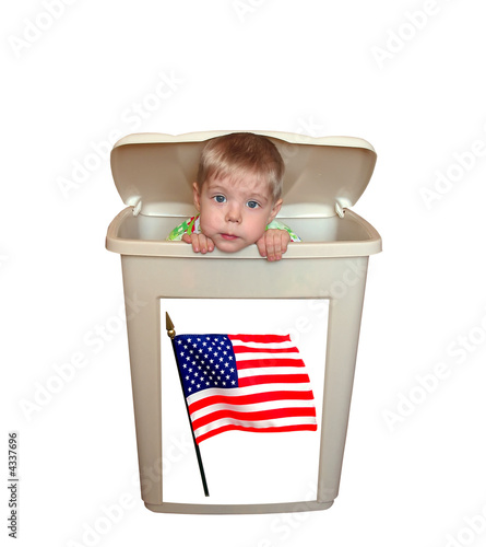 Boy in box with American flag isolated