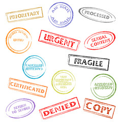 Colorful post or office marks isolated over white background