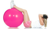 Pilates trainer doing stomach exercise. Pilates girl concept poster