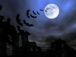 Halloween theme: bats flying over the old ruin against the Moon