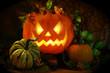 Halloween pumpkin and gourds
