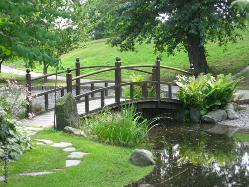 Panel Szklany a bridge in japaneese garden