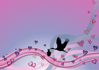 Cigogne et couffin sur vague rose